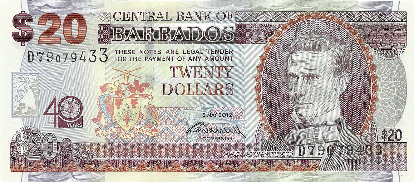 20 Dollars 2012. 40th Anniversary of the Central Bank of Barbados