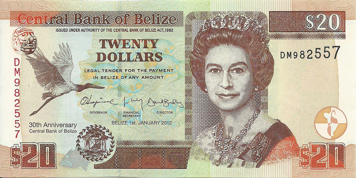 20 Dollars 2012. 30th Anniversary of the Central Bank of Belize