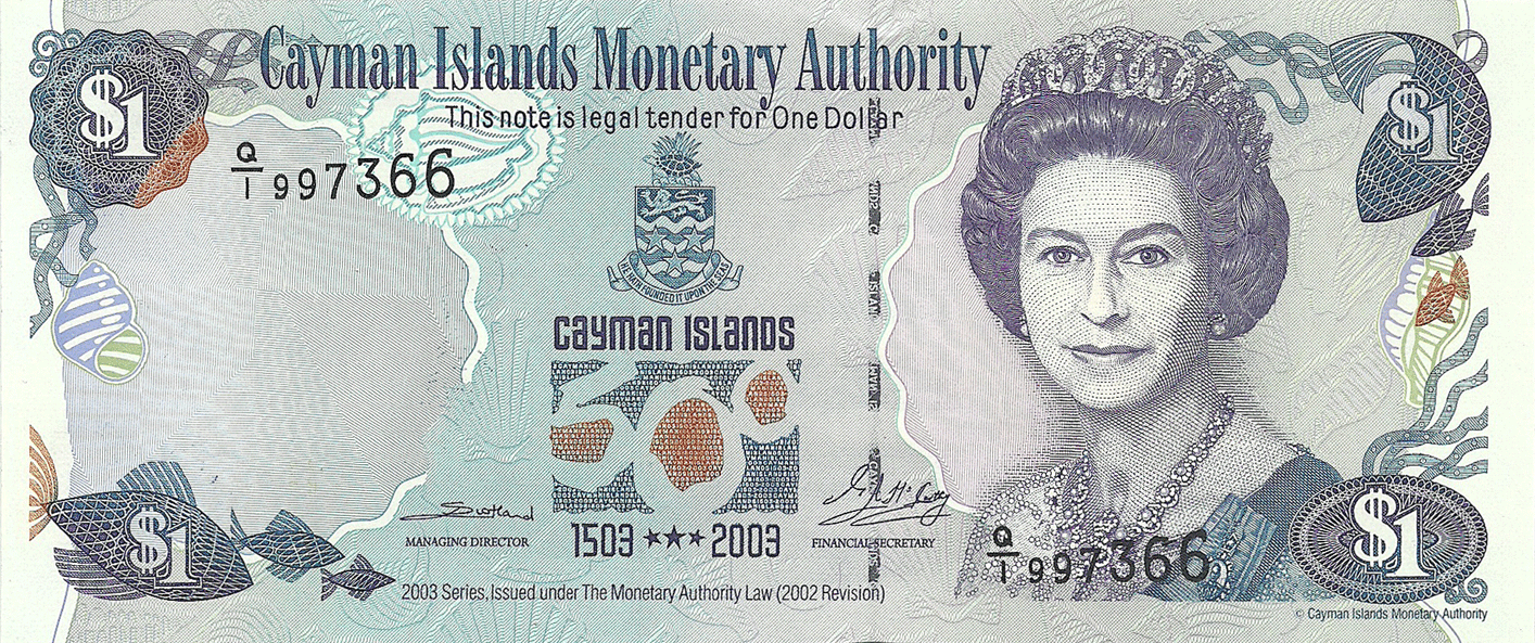 1 Dollar 2003. 	 500th Anniversary Discovery of the Cayman Islands (1503-2003)