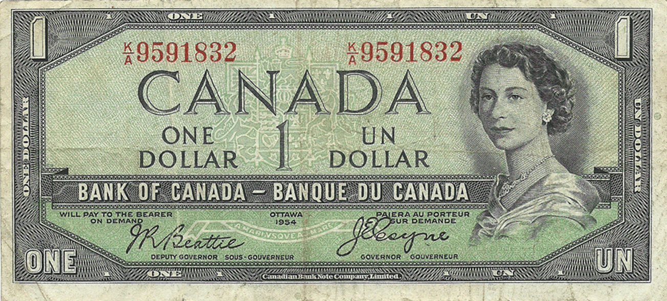 1 Dollar 1954 - 1956. Devils face