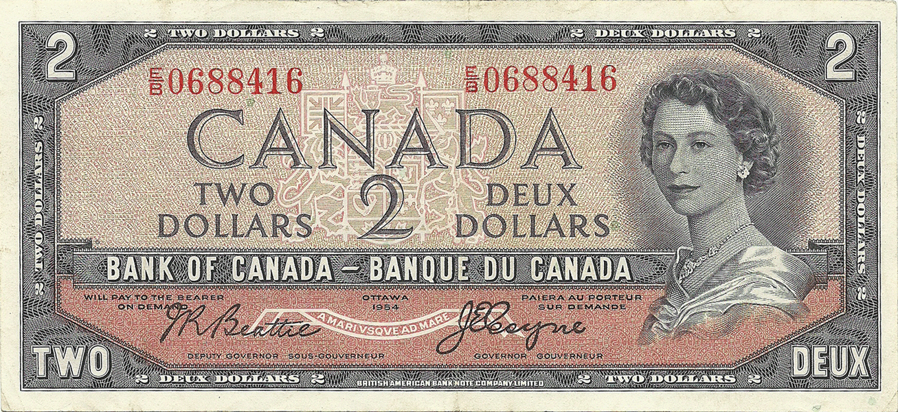 2 Dollars 1954. Devils face