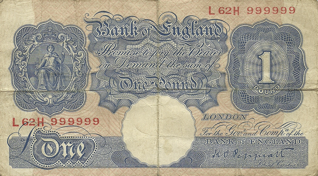 1 Pound Sterling 1940. Interesting serial number