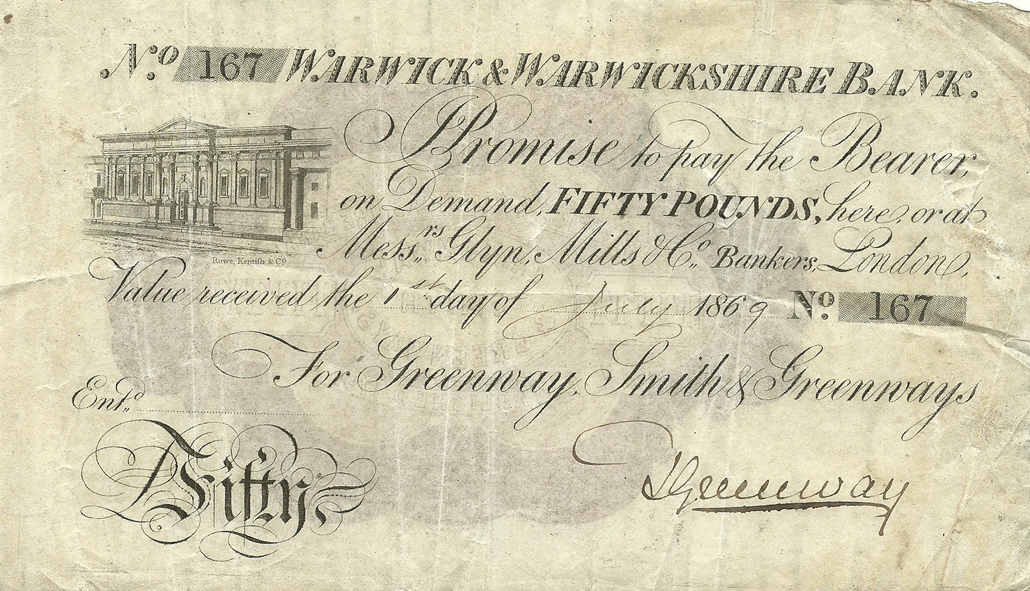 50 Pounds Sterling 1869. Warwick & Warwickshire Bank