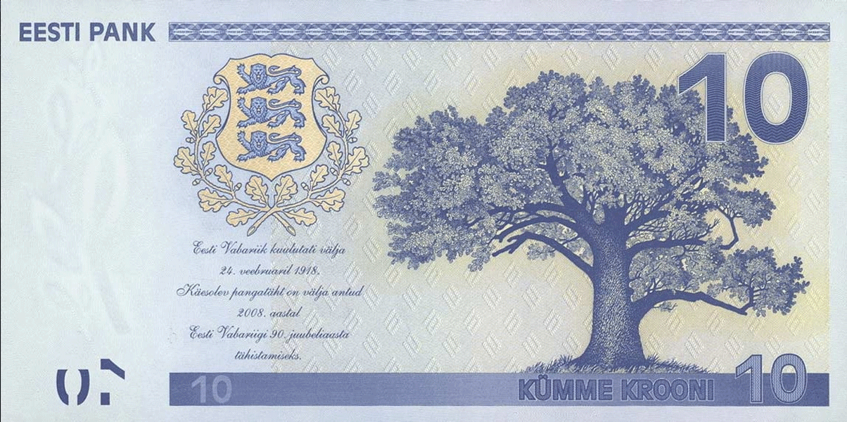 10 Krooni 2008. 90 years of the foundation of the Republic of Estonia and 16 years of the re-introdu