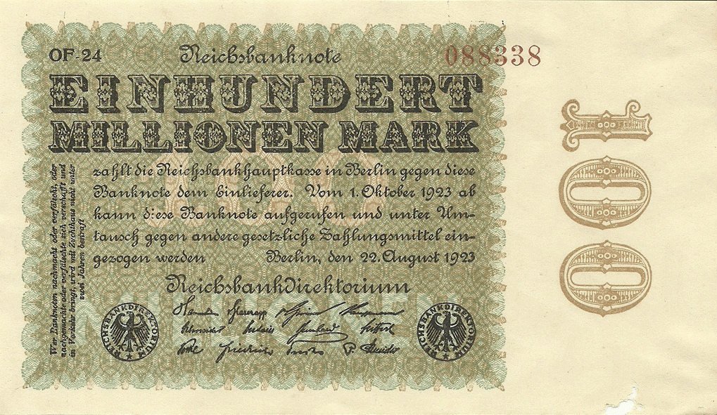 100000000 Mark 1923. Fourth Issue