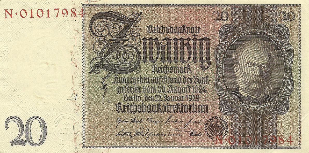 Description of 20 Reichsmark 1929