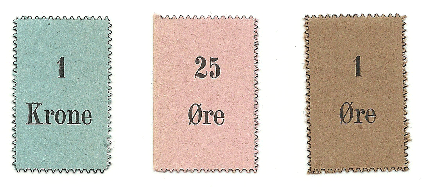 Set of cardboard tokens - 1 and 25 Ore, 1 Krone