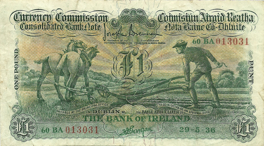 1 Pound 29.05.1936, Ploughman, The Bank of Ireland