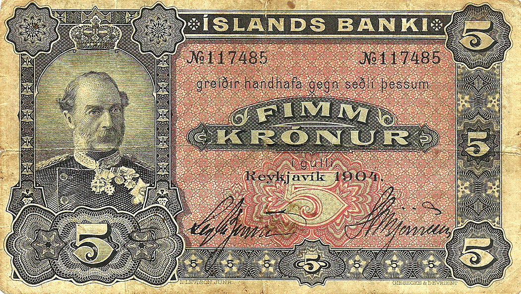 5 Kronur 1919. Banknote issued by a branch of a bank in the Vestmannaeyjar Islands