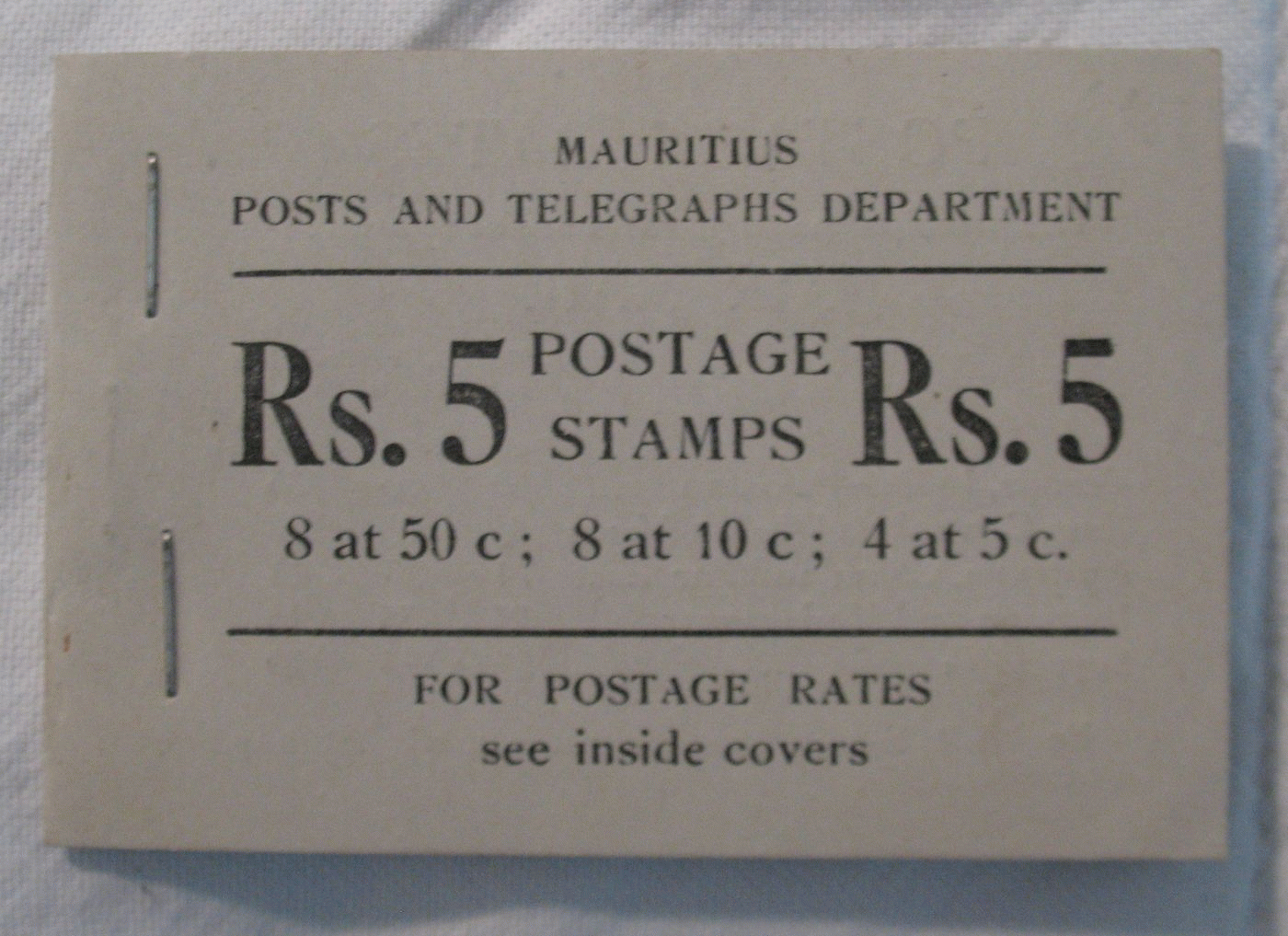 Department of Posts and Telegraphs. Postage stamps value 5 Rupees