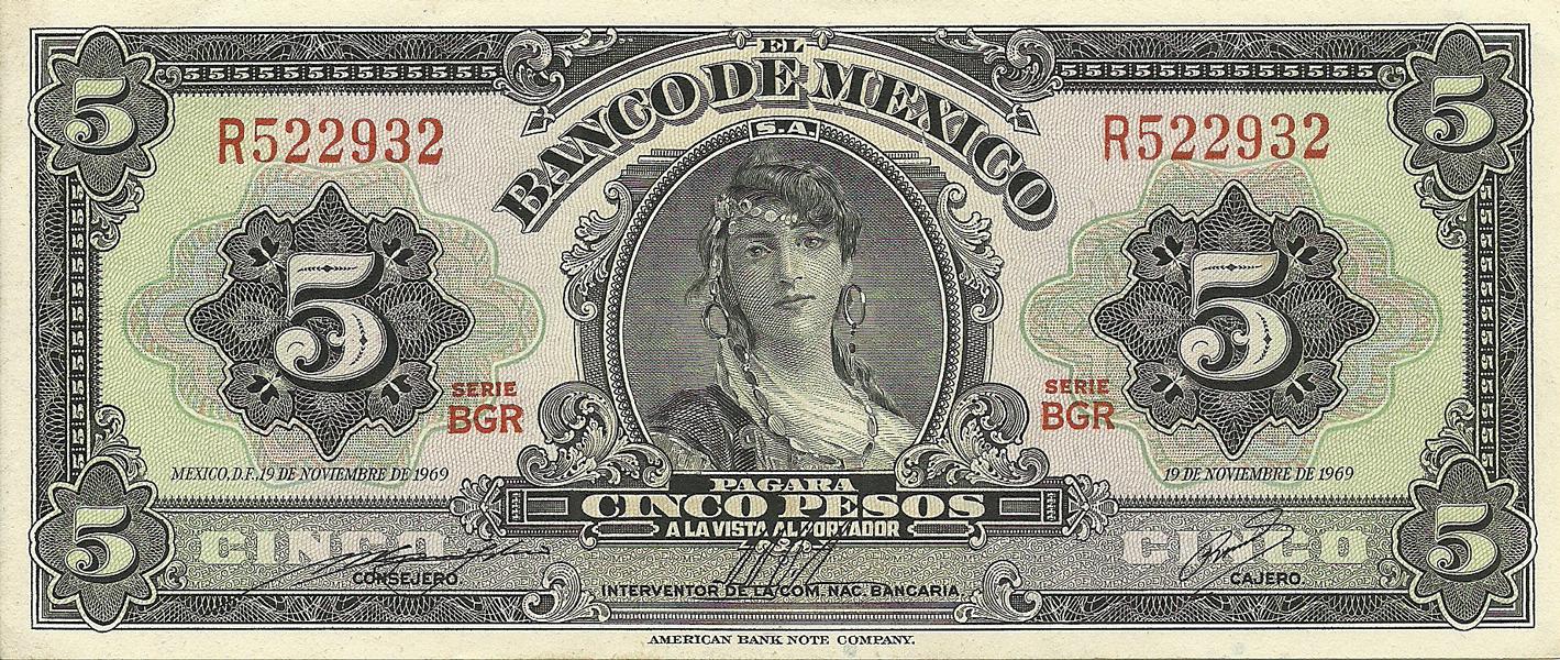 Description Of 5 Pesos 1969