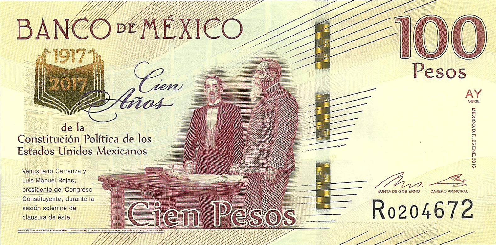 100 Pesos 2017. 100 Years since the adoption of the Mexican Constitution