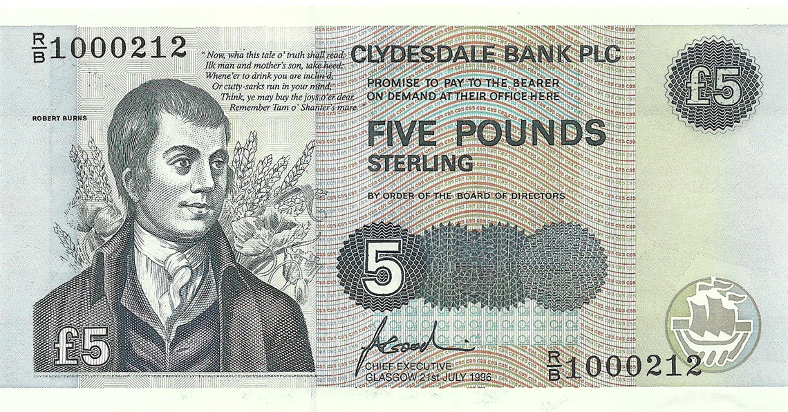 5 Pounds Sterling 1996. Tam o' Shanter