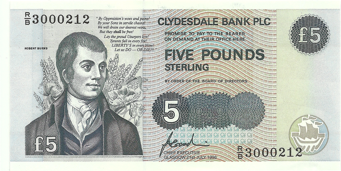 5 Pounds Sterling 1996. Scots Wha Hae