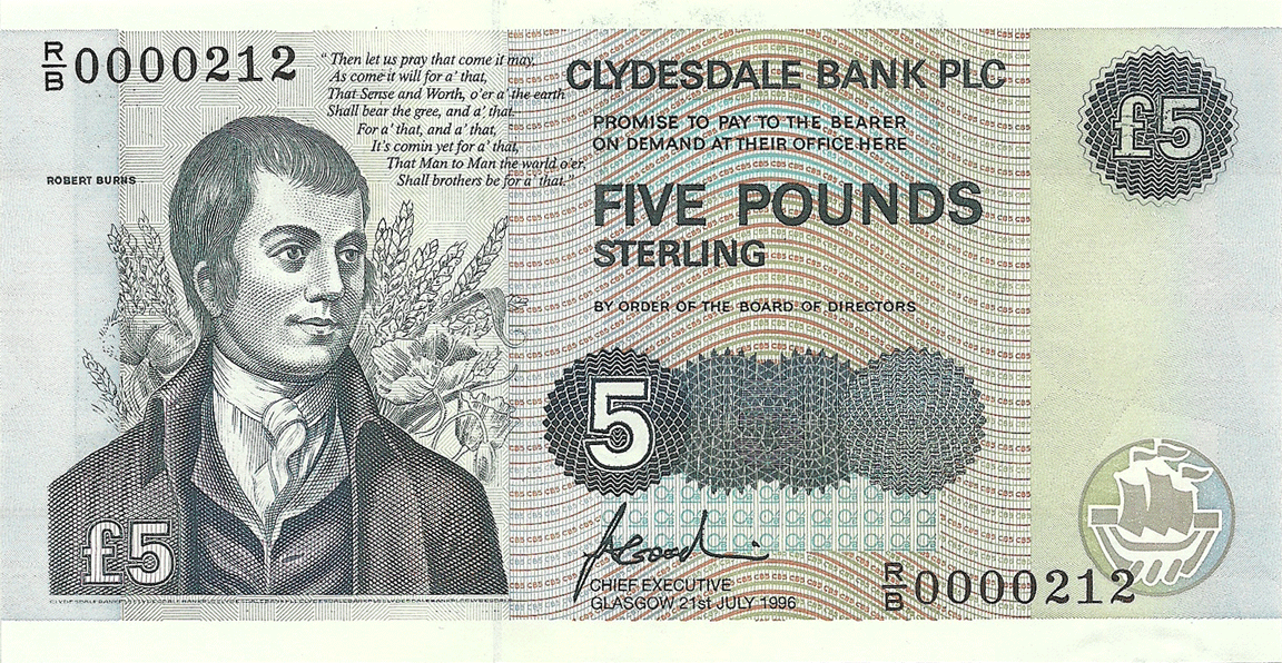 5 Pounds Sterling 1996. Is There for Honest Poverty