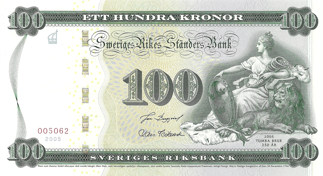 100 Kronor 2005. 250th Anniversary of Tumba Paper Mill  (Swedish banknote printer)