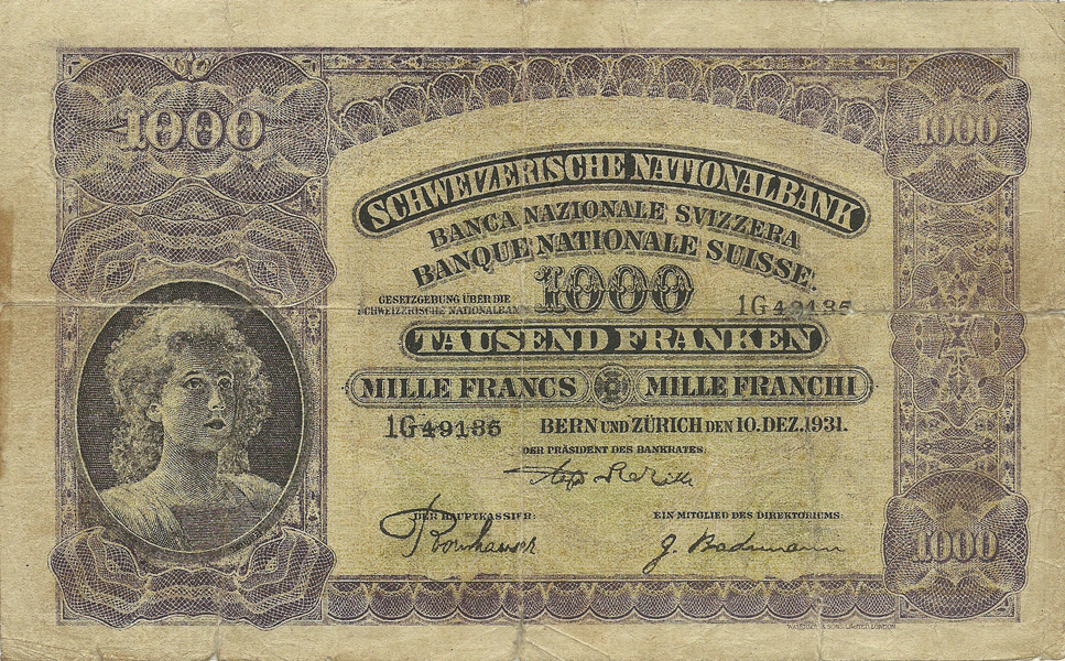 1000 Franken 1931, World War II fake banknote