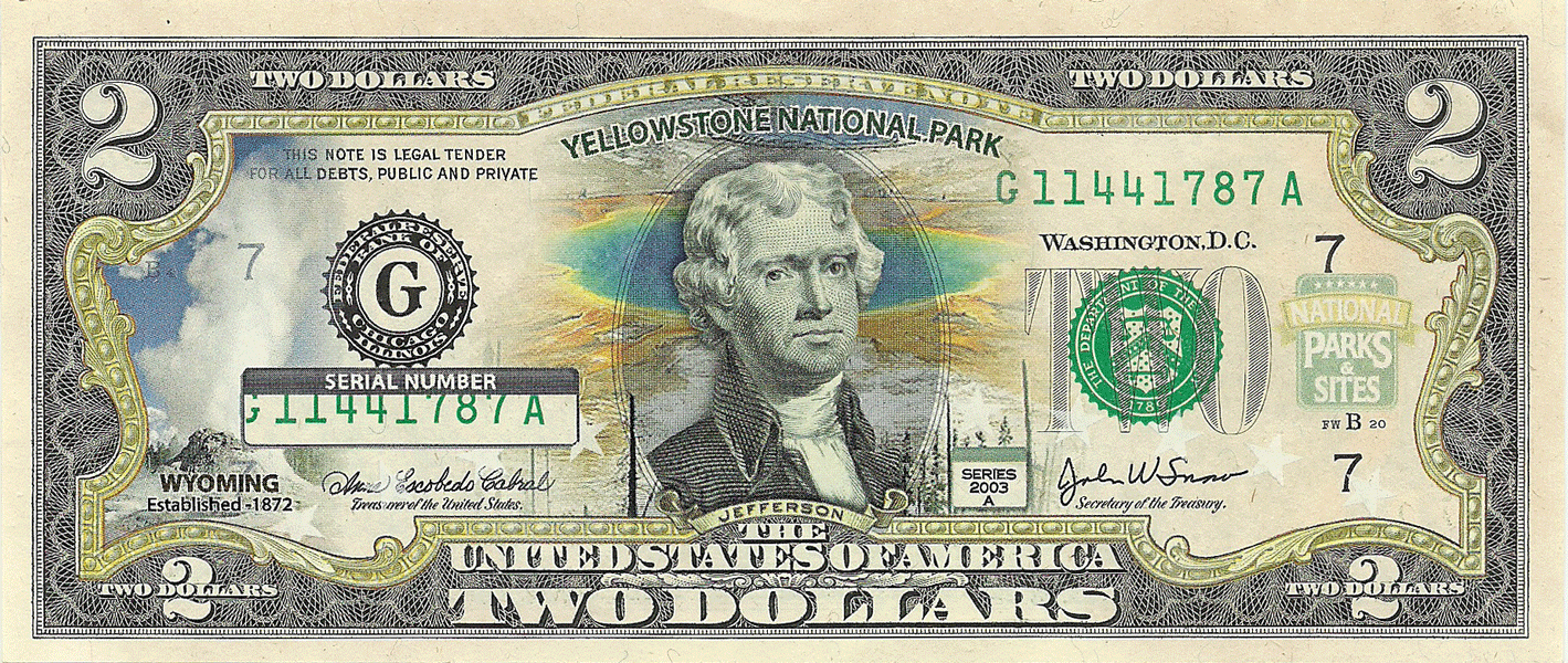 2 Dollars 2003, Serie A. Yellowstone National Park