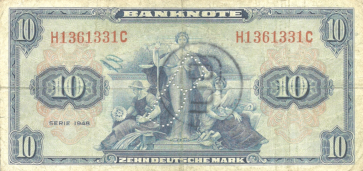 10 Mark 1948. I Serie. West Berlin (perforation and stamp)