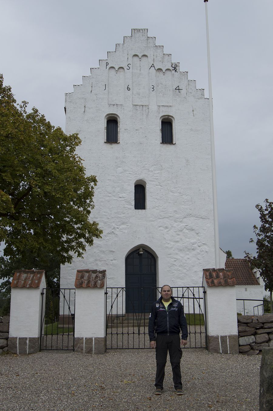 I standing in front of Landet church on the island Teslinge at 1 of September 2014