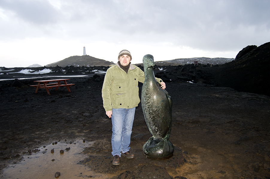 I am standing near the monument to Great Auk in Iceland
