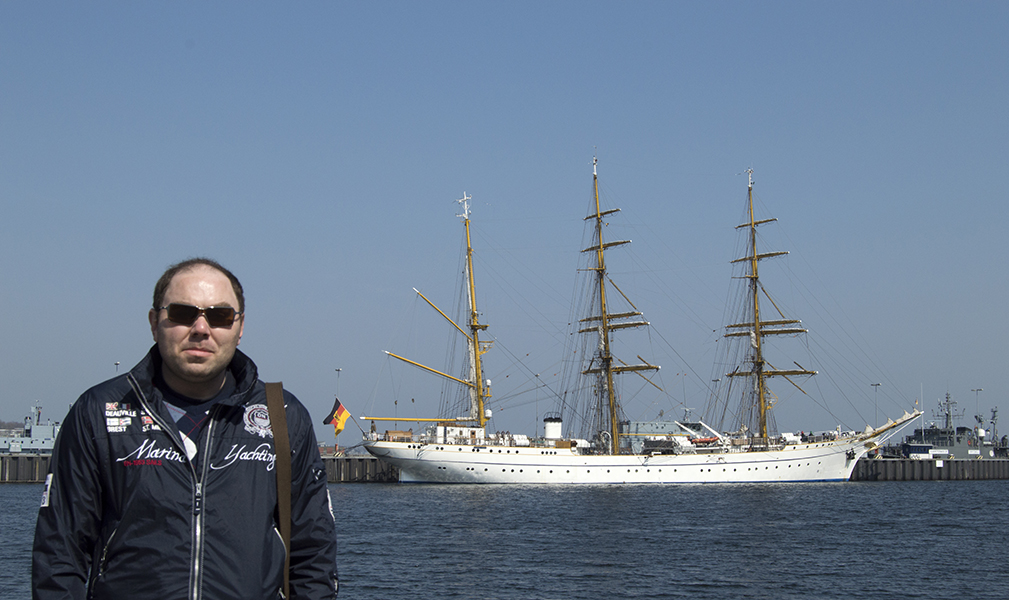 I am standing near sail ship Gorch Fock II in Kiel