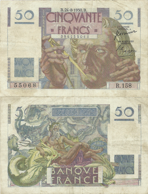 50 Francs 1950. 100 years of Neptune discovery