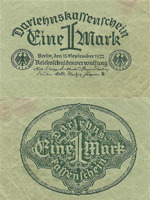 1 Mark 15.09.1922 (06.03.1923). Third Issue