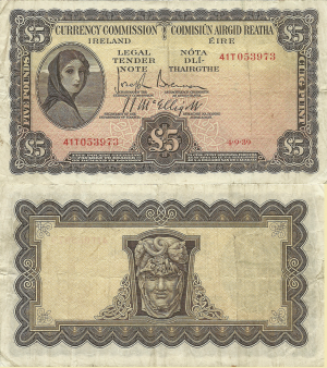 5 Pounds 1939 (Currency Commission Ireland)