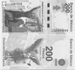 200 Pesos 2010.  Bicentennial of the Mexican Independence