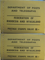 Department of Posts and Telegraphs. Postage stamps value 5/-