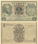 5 Kronor 1948. 90th Birthday of King Gustav V