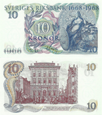 10 Kronor 1968. 300th Anniversary of Sveriges Riksbank 1668-1998