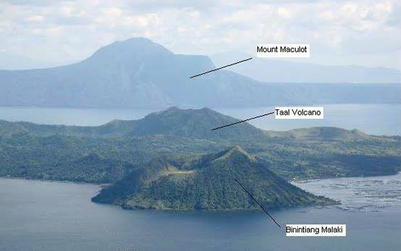 Taal Lake, Taal volcano and Binintiang Malaki