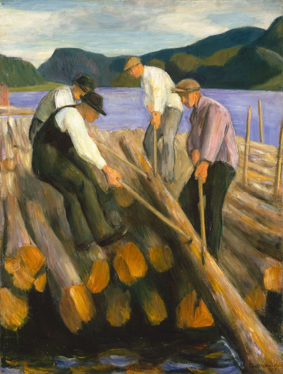 Erik Werenskiold's Men Working on a Timber Boom