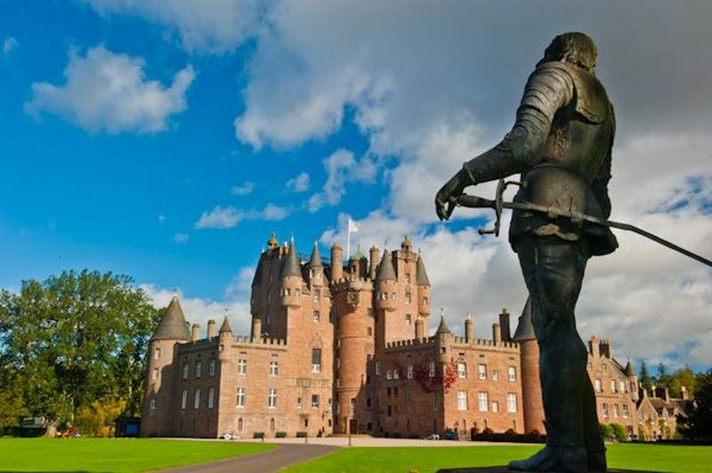 Glamis castle and the monument to Shakespeare