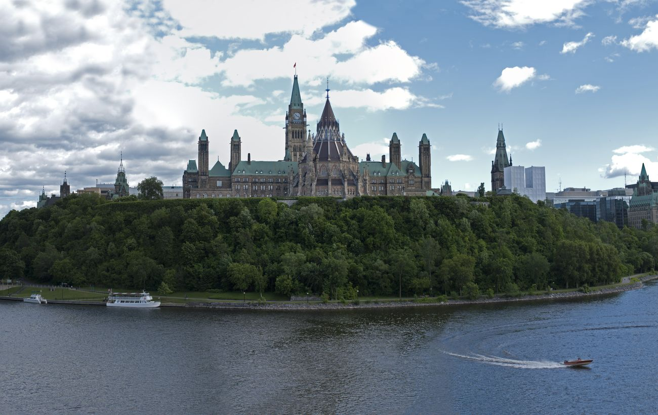 Parliament Hill from river Ottawa