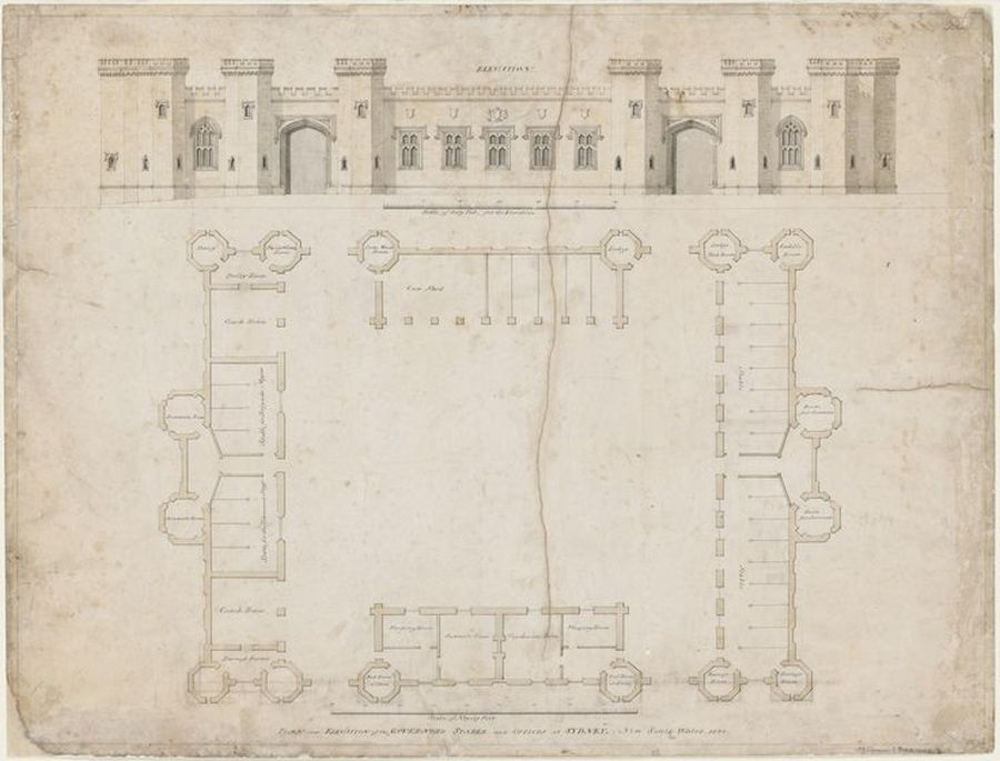 Plan and elevation of the Governor's stable and offices at Sydney, New South Wales