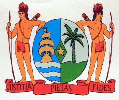 The coat of arms of Suriname