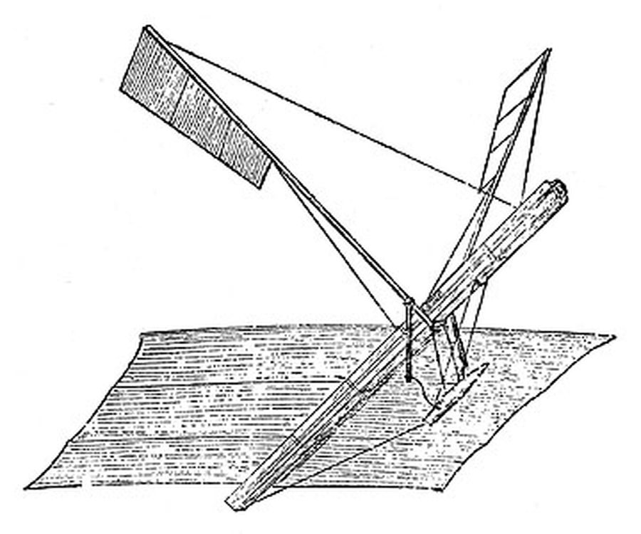 One Of The First Hargrave Model Powered By Stretched Rubber Bands. Driving Trochoided Plane Propellers - ca. 1887