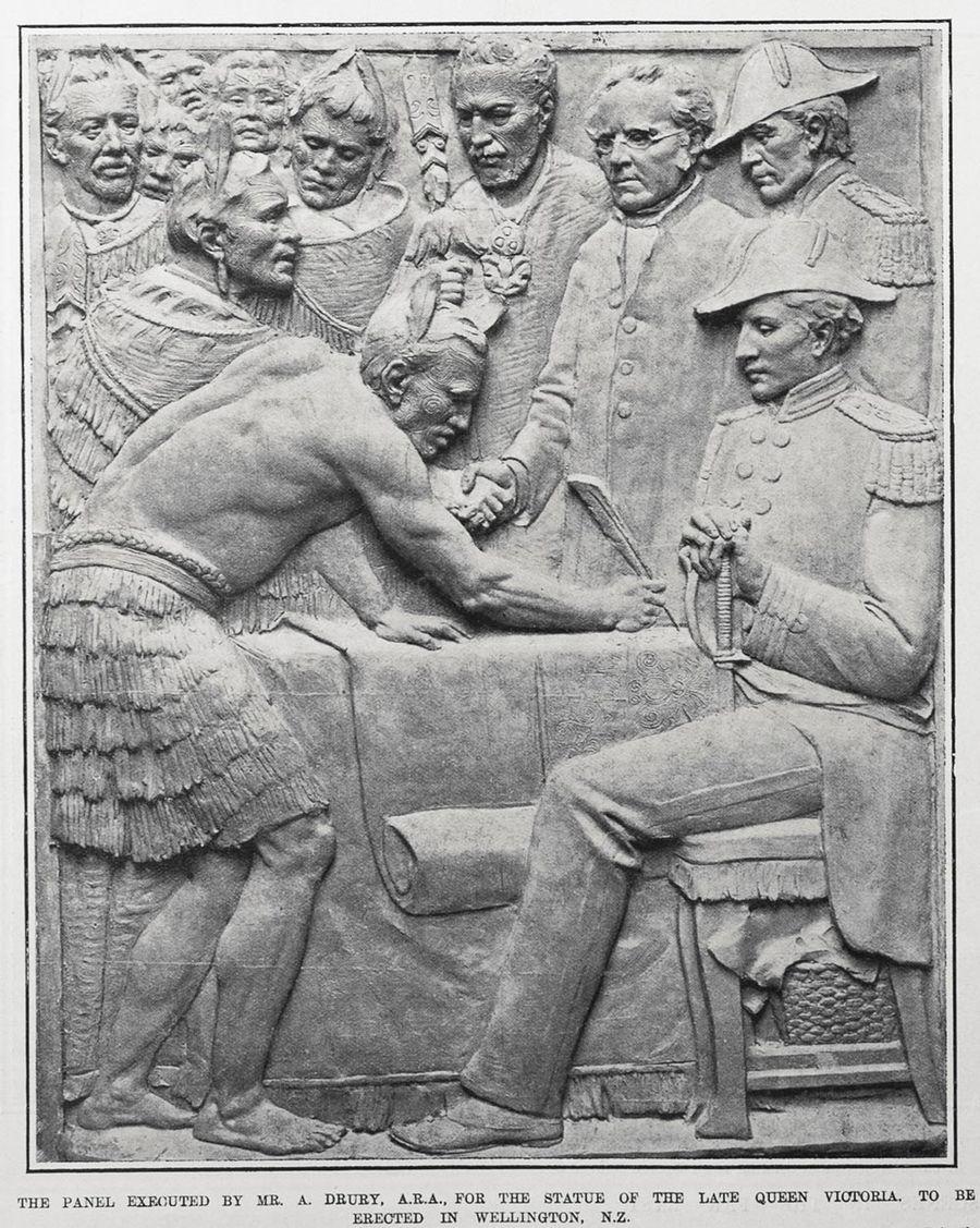 The panel executed by Mr. A. Drury, A.R.A., for the statue of the late Queen Victoria. To be erected in Wellington, N.Z.. Taken from the supplement to the Auckland Weekly News, 08 December 1904